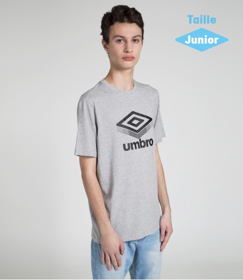 T-SHIRT COTON BIG LOGO GRIS CHINE - JUNIOR